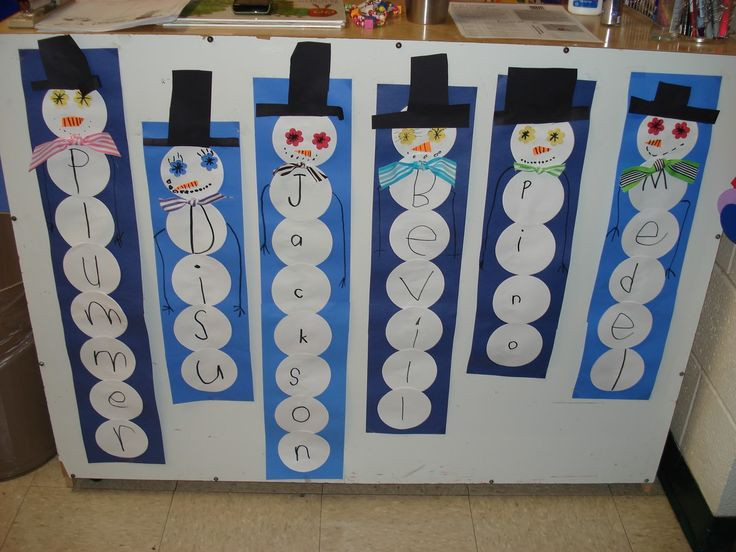 Last name snowmen ~ kindergarten or preschool activity; do first names