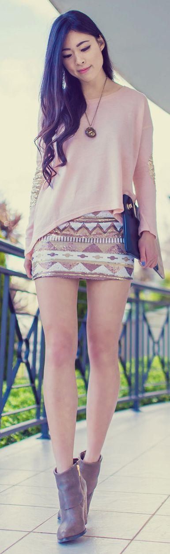 Lookbook Store Earth Tone Multi Aztec Print Sequin Mini Skirt