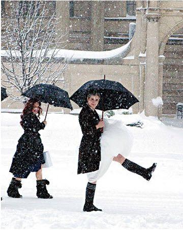 cute snowy Winter Wedding Photo