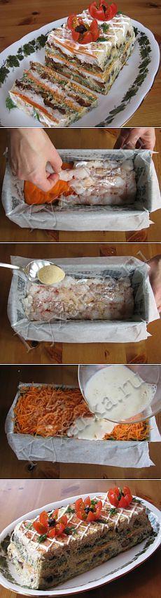 Рыбный торт СОСТАВ: 600 г рыбного филе 3 крупные моркови 2 средние луковицы горсть чернослива без косточек большой пучок укропа 200 мл молока 3 яйца (на видео я разбиваю 2 яйца, но заливки мне не хватило и пришлось готовить еще половину нормы, поэтому в рецепте 3) соль, перец 1 столовая ложка растворимого желатина форма для кексов