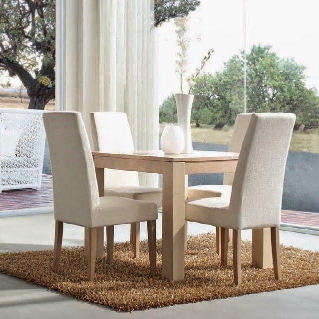 Comedor de Expormim. Mesa cuadrada extensible y sillas tapizadas desenfundables. De madera de roble, acabados tinte y sólido (blanco laca). Estilo contemporáneo.