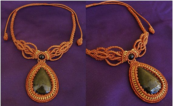 Gold Sheen Obsidian with Black Onyx bead - Macrame necklace (orange/beige)- stone size approx. 2.5/3.5 cm