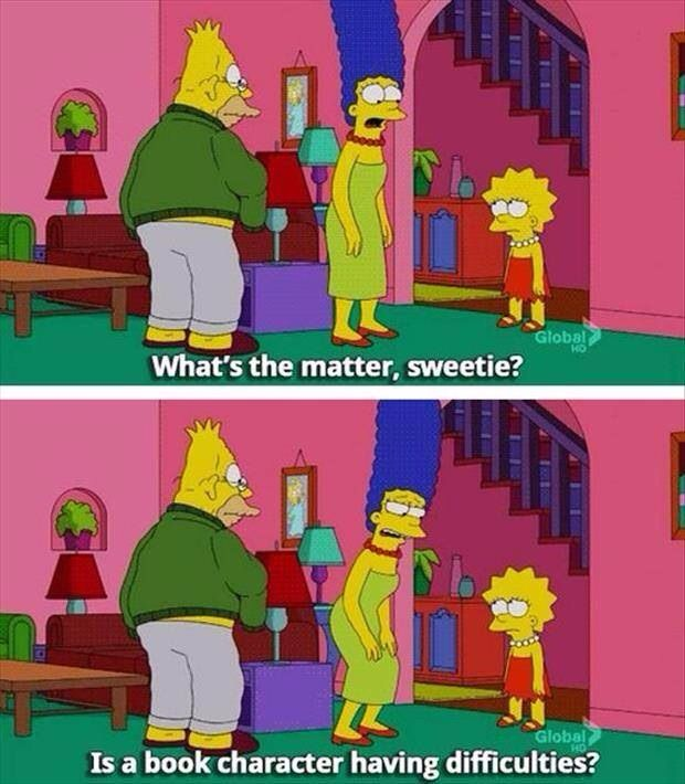 Image result for bookish gifs lisa simpson is a book character having difficulties