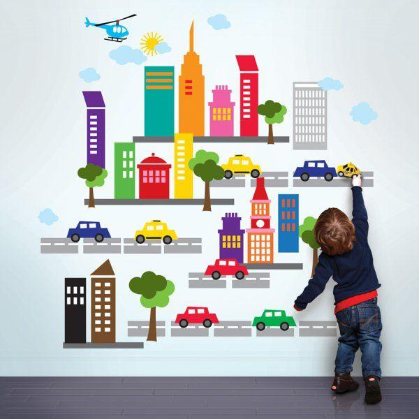 kinderzimmer junge wandgestaltung auto | beecie, Wohnzimmer design