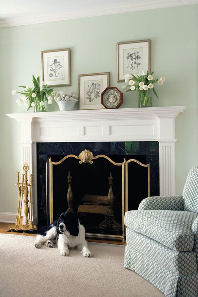 Beautiful Room Decor Featuring Well Appointed White Fireplace Mantel With Accessories Gorgeous Cast Brass