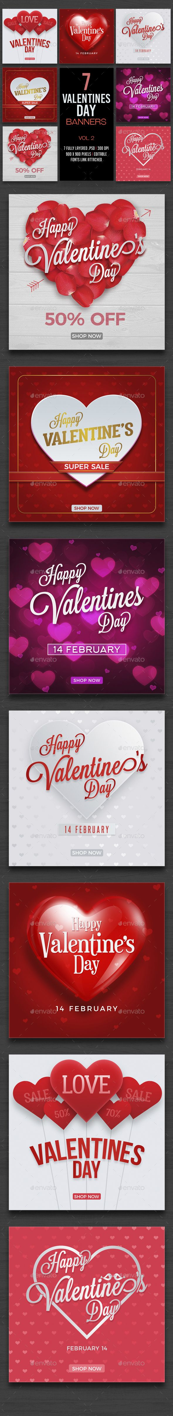 Valentines Day Banner Set Design Template Vol2 - Banners & Ads Web Elements Design Template PSD. Download here:https://graphicriver.net/item/valentines-day-banner-set-vol2/19253257?ref=yinkira