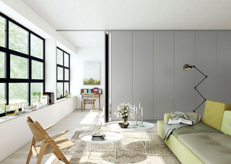 Oscar Properties : HG7 http://www.oscarproperties.com/ #oscarproperties  living room, sofa, green sofa, interior, factory, architecture, stockholm, design #allén