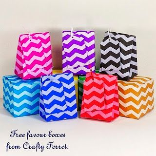 FREE to download and PRINT chevron stripe zigzag print wedding or party favour boxes gift boxes, bags and tags
