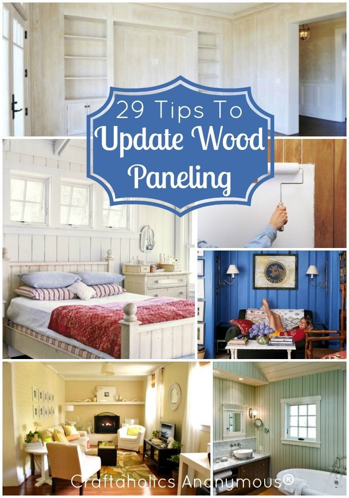 29 helpful tips on How to Update Wood Paneling. If you're sick of that nasty, outdated wood paneling, this post is for you! Great ideas, tips, and tricks.