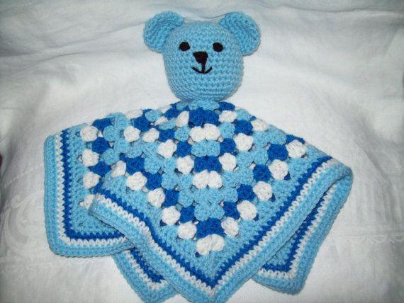 Teddy Bear Security Blanket Crochet Blue Bear Security