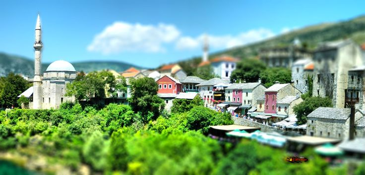Old Town of Mostar, Bosnia and Herzegovina, Nikon Coolpix L310, 10.2mm, 1/160s, ISO80, f/10.7, -0.3ev, panorama mode: segment 2, HDR-Art/Tilt-Shift photography, 2016071012332