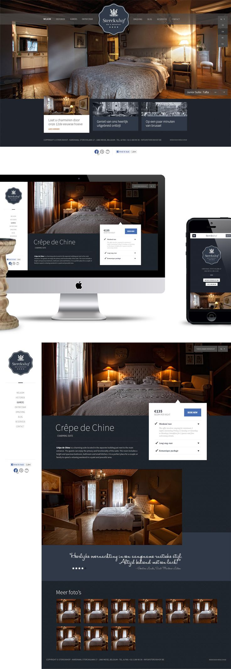 Responsive website for Sterckxhof - Bed & Breakfast - Designed by Weblounge…