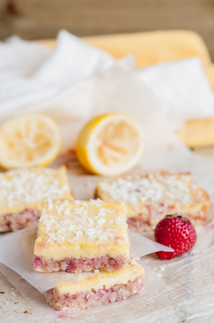 Coconut Strawberry and Lemon Bars