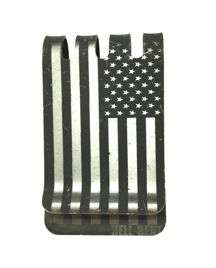TITANIUM MONEY CLIPS – AMERICAN FLAG IN BLACK GUN KOTE - $49.99
