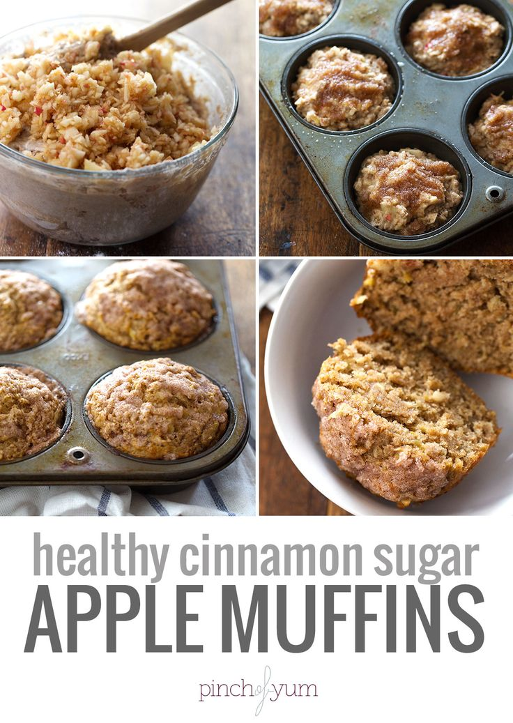 Healthy Cinnamon Sugar Apple Muffins - a comfy-cozy fall snack that is made with whole wheat flour, coconut oil, and less refined sugar. 230 calories. | pinchofyum.com #apple #muffin #recipe #healthy