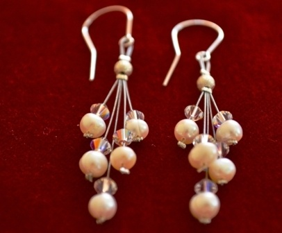 earrings with pearls and swarovski elements