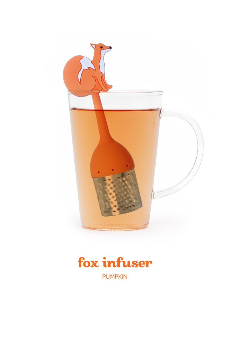 A stainless steel and silicone infuser shaped like a fox.
