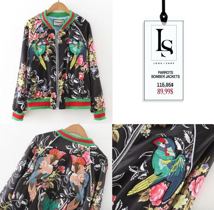 Very Trendy! Women Parrot Bomber Jacket #parrot #bomber #jacket #embroidery #print #butterfly  Shop here: https://goo.gl/hJRjKs