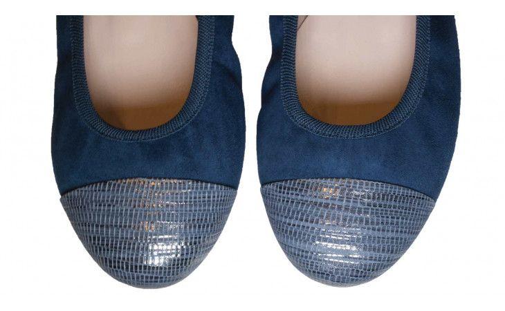 Ballerine con elastico blu in camoscio e punte laminate argento, suola in gomma - 3