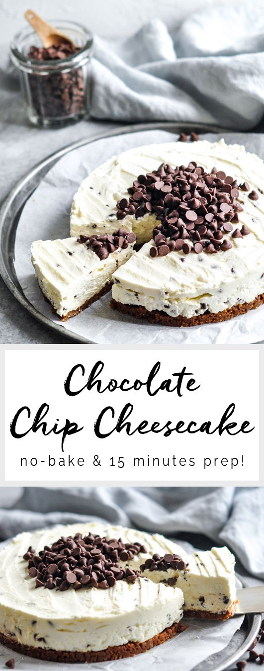 Chocolate Chip Cheesecake | No-bake cheesecake | eatlittlebird.com (Cheese Chips Chocolate Cheesecake)