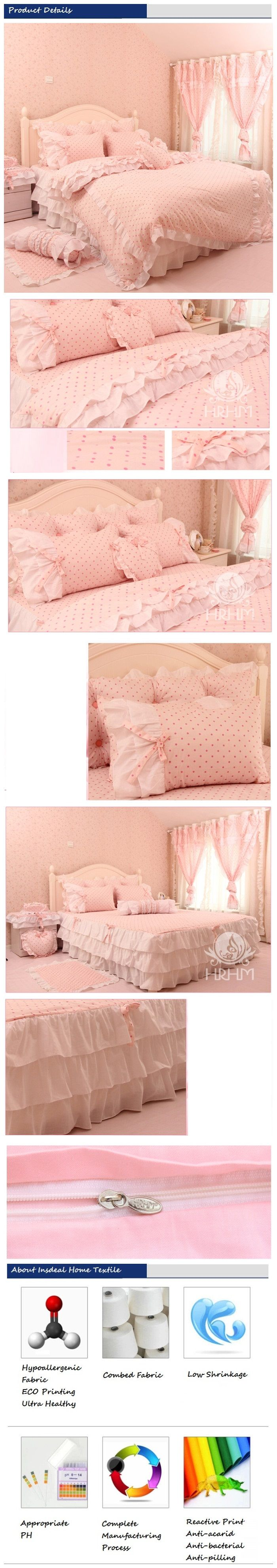 Romantic Korean Ruffle Bedding Set Pink Polka Dot Duvet Cover Set Elegant Girls Bedding Set