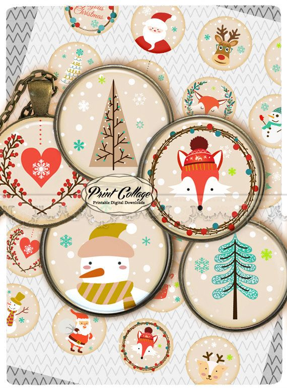 Cabochon images Digital Printable Sheets Printable images 1.5inch 1inch 18,14mm round images Instant download Winter c216 - pinned by pin4etsy.com