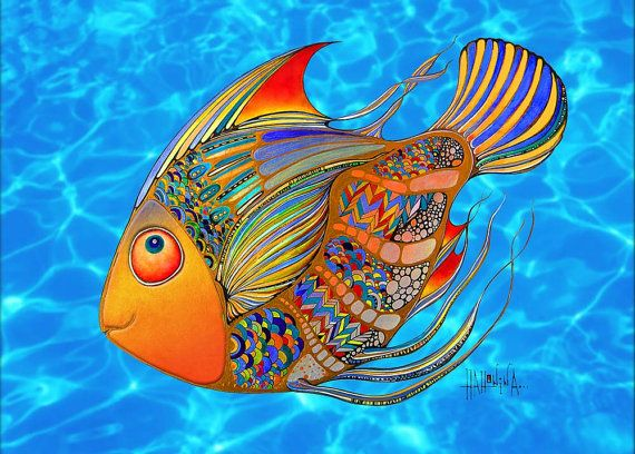 Colorful Fish Artwork Acrylic Fridge or Office & by HahoninArt, £3.40