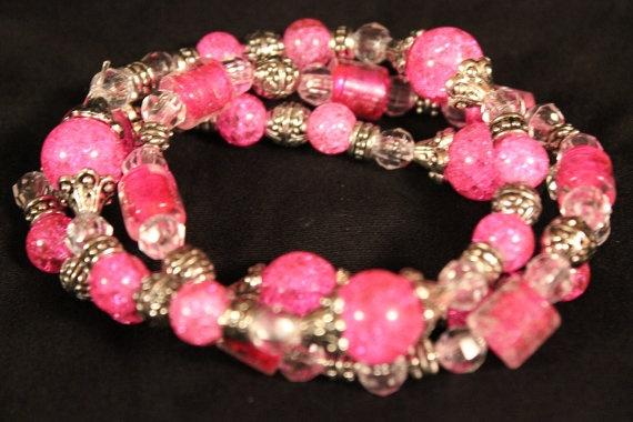 Chunky Diva Pink Ice Bracelet Set 3 by HeartandHomeCreation, $24.00