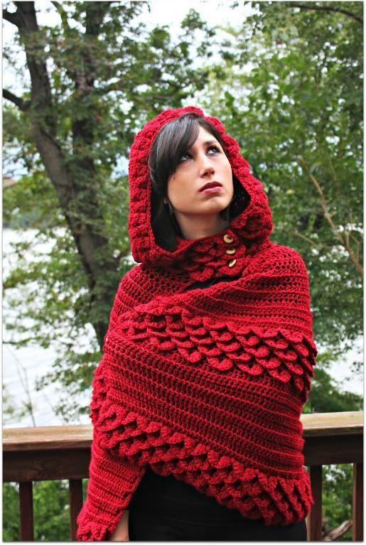 Crocodile Stitch Hooded CapeHoods Capes, Capes Crochet, Red Riding Hood, Stitches Hoods, Bonitas Pattern, Crochet Patterns, Capes Pattern, Crocodile Stitches, Crochet Knits