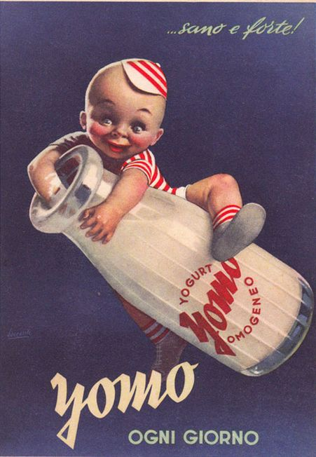 Poster by Gino Boccasile (1901-1952), ... healthy and strong! Yomo every day! iL #ItalianPoster