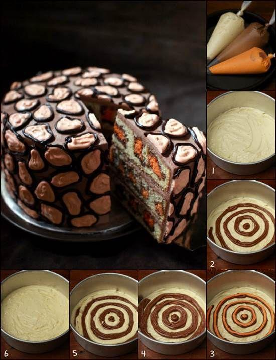 How to DIY Creative Leopard Cake #DIY #food #recipe #cake