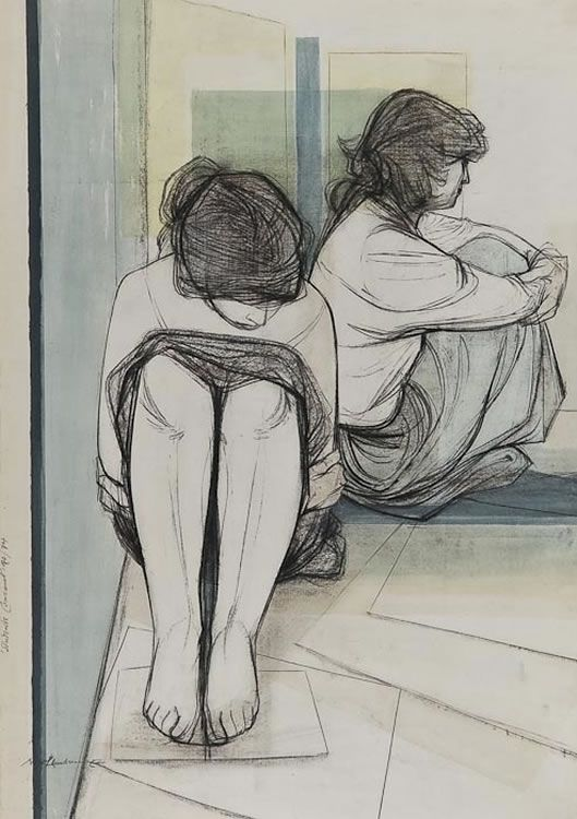 'Student's Concert' (m.55) by Nigel Lambourne. Mixed media (chalk, ink watercolour) on paper. Created 1972-74.