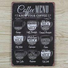 vintage tin koffie menu teken bar pub home retro metalen wand decor kunst poster(China (Mainland))