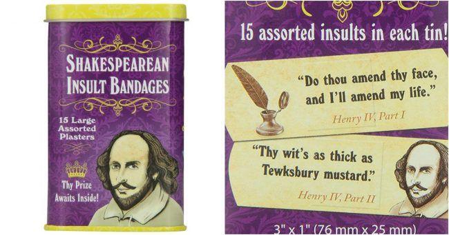 [TOPITRUC] Une boîte de pansements avec les insultes de Shakespeare dessus