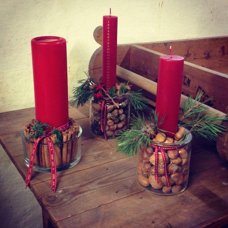 """Juledekoration med nødder, kanel m.m fra """"Bonderosen"""" julen 2013"""