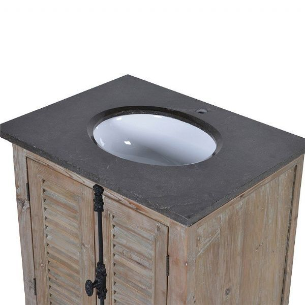 Louvred Door Single Sink Bathroom Vanity Unit Black Marble Top Ensuite Cloakroom Pinterest