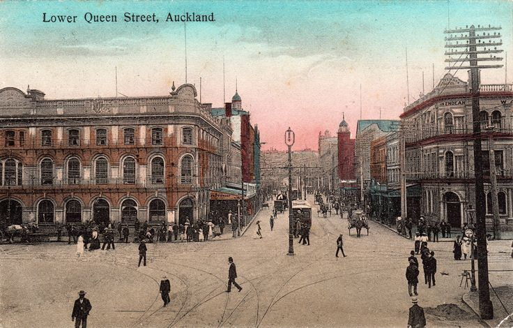 Lower Queen Street, Auckland. Postcard from the W. & A. Series. Printed in Saxony.