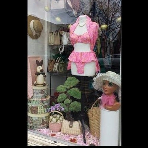MAKE IT PINK! Easter windows. #Easter #windows #windowdisplay #display #sleepingbeauty #pink #makeitpink #vintage #vintageguru #glasgow #scotland #uk #easterbunny #easteregg #fashion #style #trend #pinup #hat #retro #beach #summer #holiday #vacation #holidays