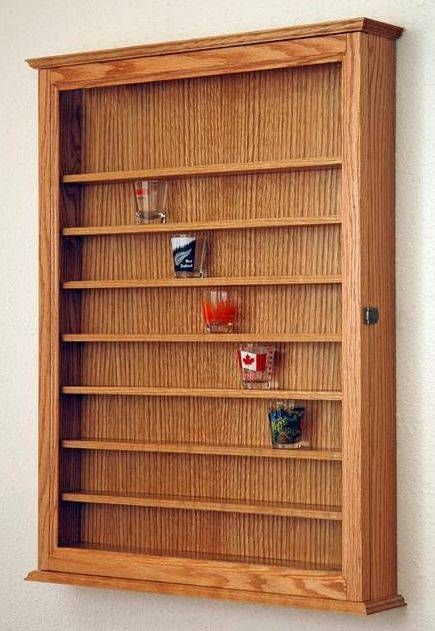 Tad Likes This For His Shotglass Collection: 72 Oak Shot Glass Display Case  Wall Cabinet Shelf Rack