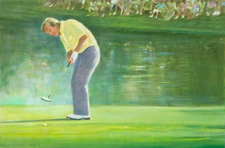 Jack Nicklaus 16th green Final Round 1986 Masters Tournament by Walt Spitzmiller 24 x 36 Oil on canvas