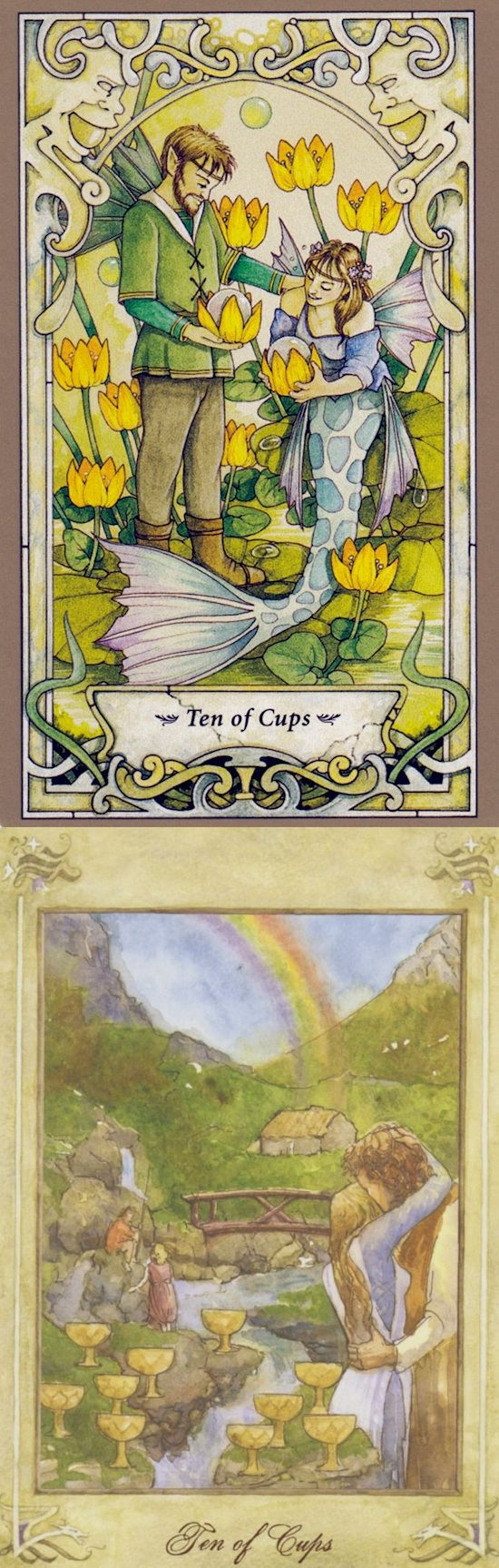 Ten of Cups: fulfillment and false success (reverse). Mystic Faerie Tarot deck and Llewellyn Tarot deck: free love reading, tarotjewelry vs free tarot card reading yes or no. Best 2018 psychic readings medium and cartomancy meanings playing cards. #devil #selfempowerment #trickortreat #Wiccan