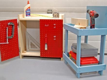 With just a few simple modifications, you can easily turn a basic bookshelf into a kid-friendly play workbench.