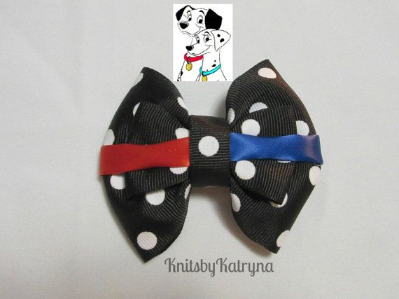 Pongo and Perdita 101 Dalmations Hair Bow by KnitsbyKatryna