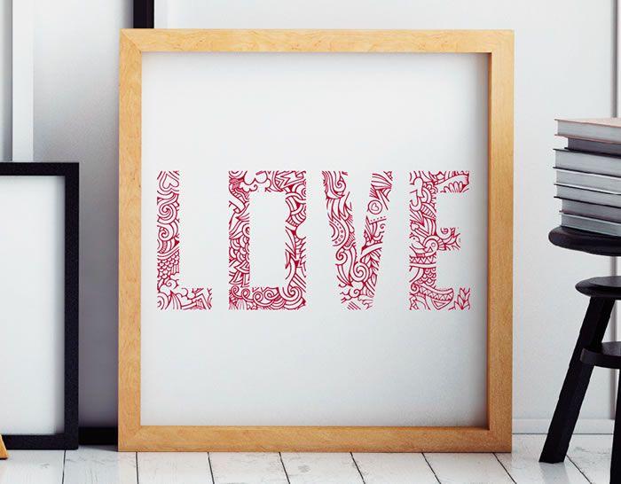 vinilo tipografía love, vinilos de texto romántico original y perfecto para decorar tu casa