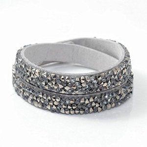 Sparkling Grey Leather Wrap Bracelet #krissylovesbling krissylovesbling.com