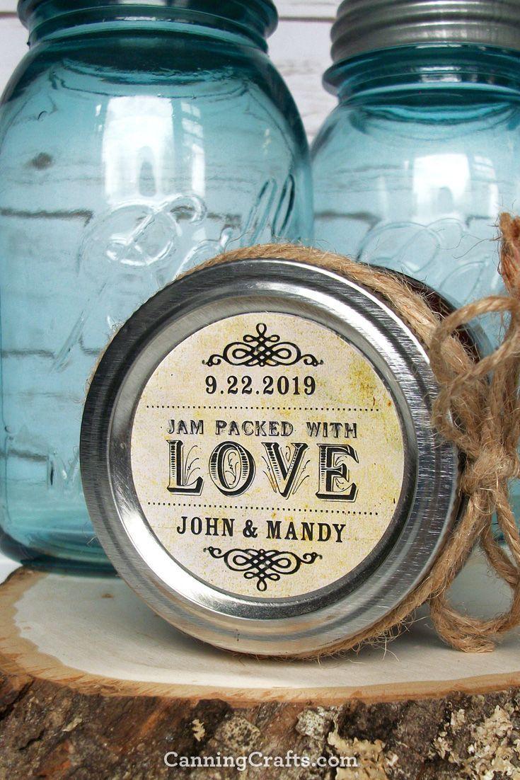 Vintage Jam Packed with Love custom wedding favor labels, jam jar labels. CanningCrafts.com #weddingfavors  #weddingideas #weddinginspiration
