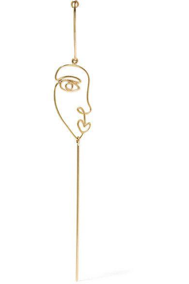 sarah & sebastian long face 14k gold earring