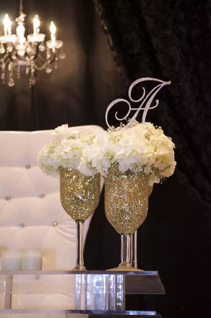"""6"""" Script Love Letter used in floral arrangement on head table. Swarovski crystals shone almost as bright as the bride."""