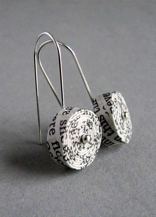 recycled paper earrings | @blureco                                                                                                                                                                                 More                                                                                                                                                                                 Mais