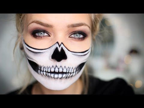 Half Skull Halloween Makeup Tutorial - Lets Learn Makeup
